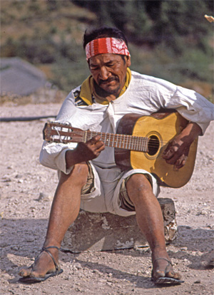 Tarahumara guitar player in Mexico's Copper Canyon
